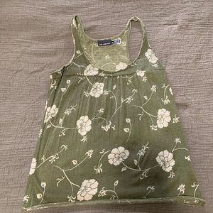 Green floral tank